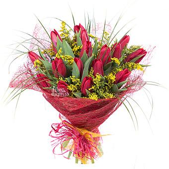 Букет Идеальное поздравление: Тюльпаны и солидаго