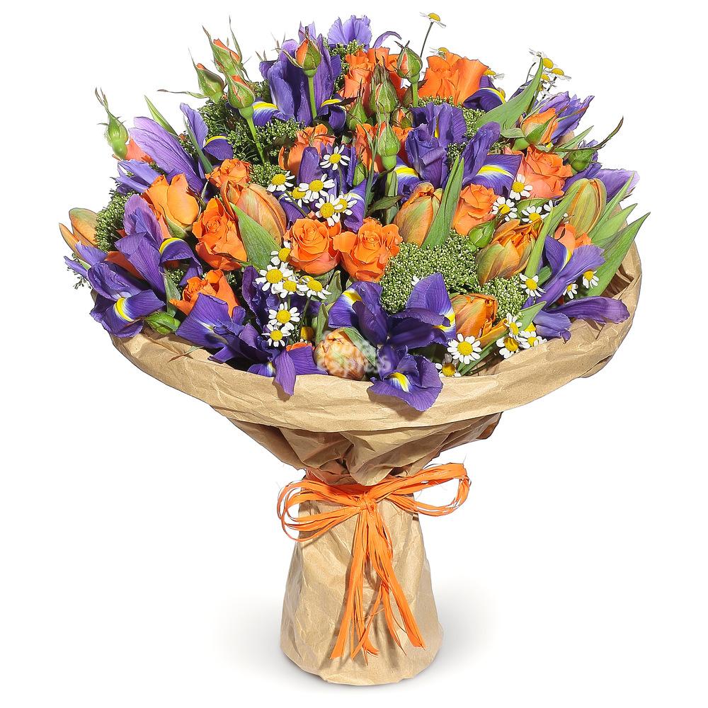 Букет «Flora Express» Розы с ирисами фото