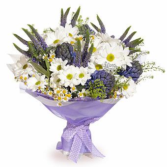 Букет Мечтательница: Хризантемы и гиацинты