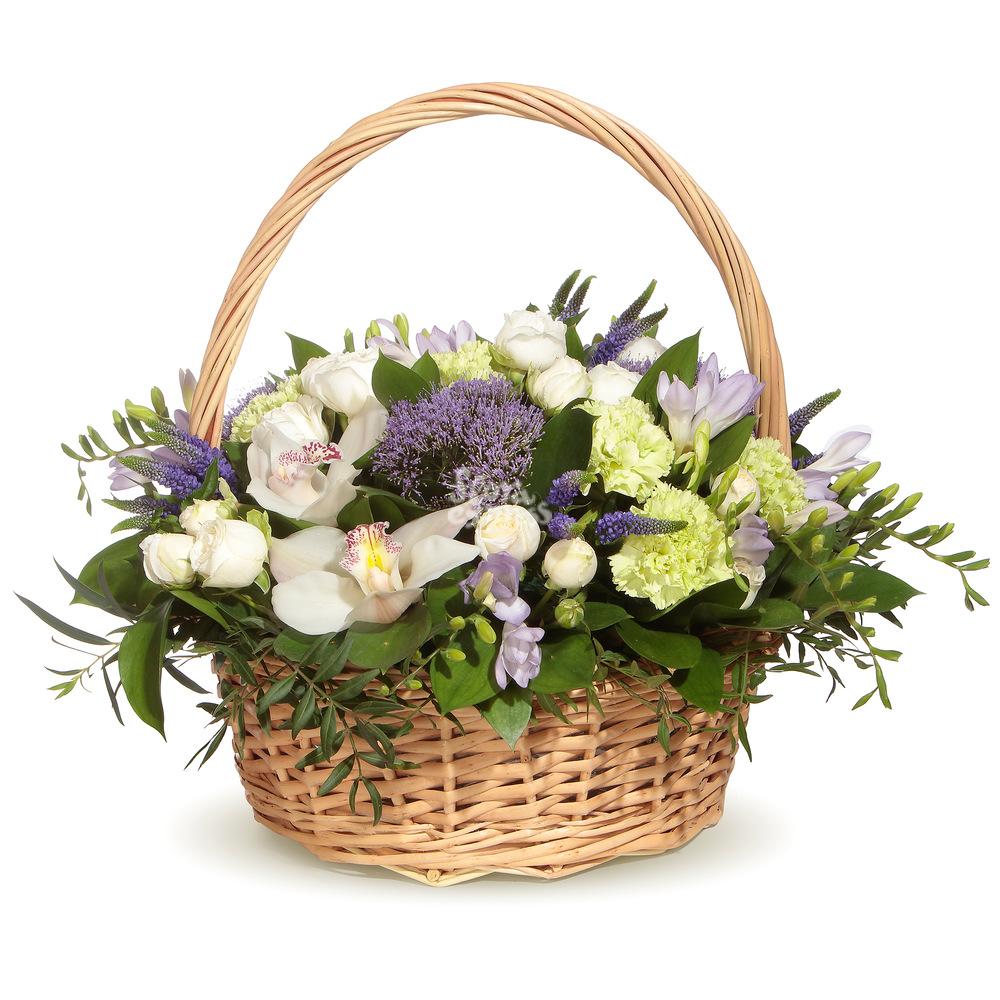 Букет «Flora Express» Корзина с орхидеей и гвоздикой фото